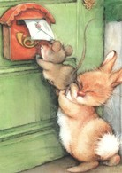 Lisi MARTIN~ BUNNY Rabbit Push Mouse Mice Letter Post New Modern KIDS Postcard - Animals