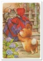 Lisi MARTIN~  BUNNY Rabbir & Mouse Mice Drag GIFT New Modern KIDS Postcard - Animals