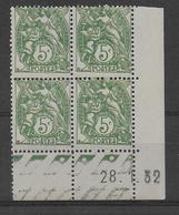 BLANC - YVERT N°111 BLOC De 4 COIN DATE 1932 **  MNH - COTE = 35 EUR. - 1900-29 Blanc
