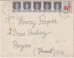 Aude ESC Facteur Boitier Roquefort Du Sault Bel Affranchissement 1965 - Postmark Collection (Covers)