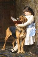 "Little Girl Read Book Dog ""Education"" By Briton Riviere Russian Modern Postcard - Kinderen"
