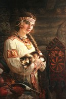 Housewife In Folk Costume Cat Spindle By Shishkin Russian Modern Postcard - Europe
