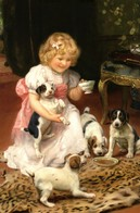 """""""Too Hot"""" Little Girl & Puppy Dog Tea Party By Elsley Russian Modern Postcard - Kinderen"""