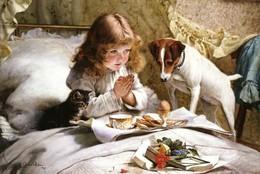 Little Girl Praying Before Breakfast Dog Cat By Barber Russian Modern Postcard - Dieren