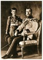 Emperor Nicholas II And Tsesarevich Alexis Russian Romanov Royalty Postcard - Royal Families