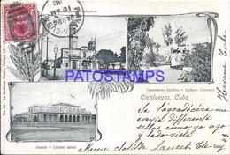 108809 CUBA CIENFUEGOS CEMETERY CUSTOM HOUSE MULTI VIEW CIRCULATED TO URUGUAY POSTCARD - Cartes Postales