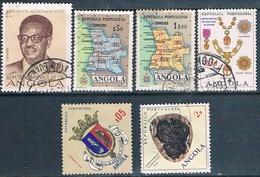 Angola 1955 / 76  -  Yvert 392 + 395 + 449 + 540 + 566 + 615  ( Usados ) - Angola