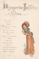 BELLE PRESENTATION D'UN MENU - DEJEUNER DU 25 JUILLET 1897 - PERSONNAGE A DROITE, COLORISE - - Menus