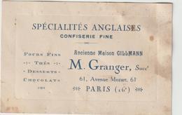 Vieux Papier  : Paris  16 Em :  Spécialités  Anglaises  Confiserie , Chocolat , ( Gilmann ) M.  GRANGER - Cartes De Visite