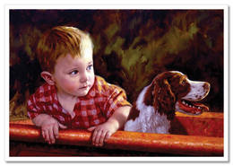 Cute LITTLE BOY On Boat With DOG JIM DALY KIDS ART Modern Postcard - Kinderen