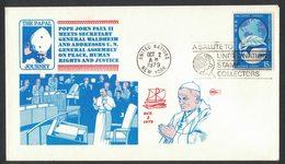 YN188     United Nations 1979 Visita Di S.S. Giovanni Paolo II  All'ONU  Meets Secretary General - Papi
