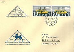 Schweiz 1953: Zu 276 Mi 311II Yv 432 Sonder-Brief O 63.CONGRÈS PHILATÉLIQUE SUISSE WATTWIL 28.VI.53 AUTOMOBIL-POSTBUREAU - Chiens