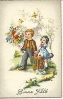(a) Fetes & Voeux - Bonne Fete- Garcon Et Fillette Au Bouquet De Fleurs - Fêtes - Voeux