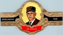 Vitolphilie Bague De Cigare Gaufrée Président Charles De Gaulle France NEDERLANDSCHE MUNT N°9 - 7,3 Cm X 12,9 Cm - Bagues De Cigares