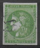 YVERT N° 42B - OBLITERE - SIGNE BRUN - COTE = 180 EUR. - 1870 Emission De Bordeaux