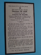 DP Damiaan DE MAN ( Francisca De Mulder ) Baasrode 23 Maart 1855 - Herdersem 27 Nov 1933 ( Zie Foto's) ! - Esquela