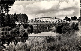 Cp Sinceny Aisne, La Baraque, Flusspartie Mit Blick Auf Eine Brücke, Wolken - France