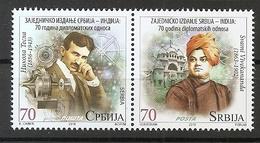 SERBIA 2018 ,India Joint Issues ,Nikola Tesla ,Swami Vivekananda ,70 Years Diplomatic Relations , MNH - Joint Issues