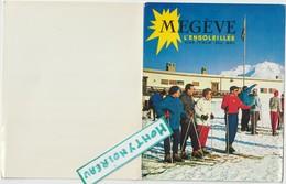 Vieux Papier  :  Haute  Savoie :  MEGEVE  Carte Dépliante  Pour Les  Voeux , Ski - Vieux Papiers