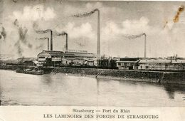 STRASBOURG - Port Du Rhin Les Laminoirs Des Forges De Strasbourg Péniche Carte Commerciale Au Dos Vers Gray - Strasbourg