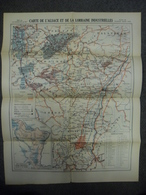 Carte De MARS 1919 ALSACE LORRAINE INDUSTRIELLE - Houille Fer Potasse Sel Pétrole Matières Premières Industrie - Cartes Géographiques