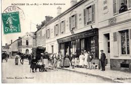 Mortcerf  77   L'Hotel Du Commerce- Tabac -2  Attelages  Caleches Et Rue Tres Tres Animée - France