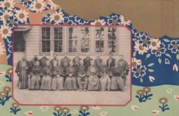 Japan Unknown Location, Group Of Men Portrait, Class(?) Traditional Fashion, C1900s Vintage Postcard - Zonder Classificatie
