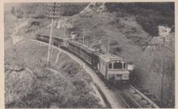 Usui Japan, Electric Railroad Train On Tracks Through Mountains, C1910s/30s Vintage Postcard - Japan