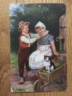Künstlerkarte AK 'Neckerei' Dess. 1621, Gelaufen Als Feldpost 1918 St. Blasien, WW I, Katze - Illustratoren & Fotografen