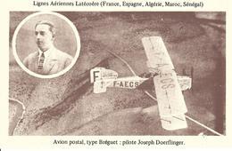 LIGNES AÉRIENNES LATÉCOERE FRANCE ESPAGNE ALGERIE MAROC SENEGAL - AVION POSTAL, TYPE BRÉGUET  Pilote  JOSEPH DOERFLINGER - Other