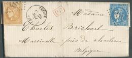 10 Et 20 Cent. BORDEAUX Obl. GC 4013 Sur Lettre De TRELON Le 29 Mai 1871 Vers Marcinelle (BE). - 13769 - 1870 Emisión De Bordeaux