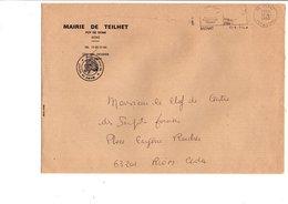 LETTRE DE MAIRIE DE TEILHET PUY DE DOME - Marcophilie (Lettres)