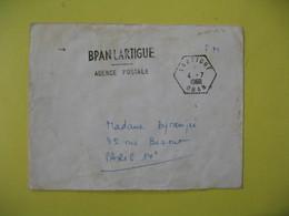 Lettre Cachet Poste  Rurale    Lartigue  1960  Oran  Franchise Militaire - Algeria (1924-1962)