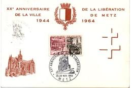 Metz 1964 - BT Libération De La Ville - Cathédrale Char Tank - Lorraine - Gedenkstempel
