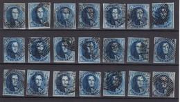 N° 7 PLANCHE III :  21 Timbres Margés Et Planchés Dont BDF , Retouches - 1851-1857 Medallions (6/8)