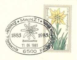 5169  Edelweiss: Oblit. Temp. D'Allemagne, 1983 -  Special Cancel From Germany. Stella Alpina Alpenverein Mainz - Végétaux