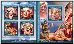 Guinea Bissau 2016 Marilyn Monroe Klb + S/s MNH - Berühmt Frauen