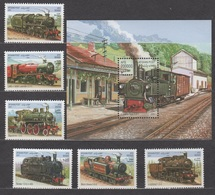 Afghanistan 2001 Mi 1958-1963 + Block121(1964) Dampflokomotiven / Steam Locomotives **/MNH - Trains