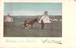 Greetings From America - A Camp-Indian. Ohio 1899 AKS - Gruss Aus.../ Grüsse Aus...