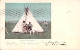 Greetings From America - Indian-Wig'wam 1899 - Gruss Aus.../ Grüsse Aus...