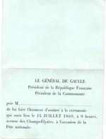 De Gaulle : Invitation 14 Juillet 1960 - 2 Scans - Documents Historiques