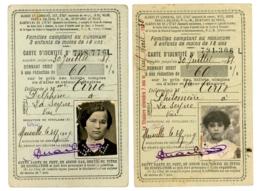LOT DE 2 CARTES D IDENTITE CHEMINS DE FER  FAMILLE NOMBREUSE  DE 1931 ET 1924 - Titres De Transport