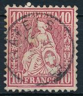 38 / 30 Sitzende Helvetia 10 Rappen Mit Sauberem Fingerhut Vollstempel NÄFELS - 1862-1881 Helvetia Assise (dentelés)