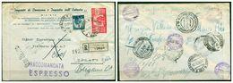 V7871 ITALIA 1950 REPUBBLICA Raccomandata Espresso Affrancata Con Democratica 100 L. + 5 L.da Bergamo 10.6.50 Per Milano - 6. 1946-.. Repubblica