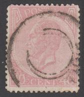 """COB 20 - Obl. """"Centre Muet"""" Double Cercle - 1865-1866 Linksprofil"""