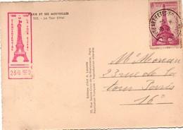 Paris Tour Eiffel 1939 - BT Cinquantenaire Sur Carte De La Tour - Commemorative Postmarks