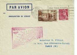 LETTRE INAUGURATION DE SERVICE CACHET 10 MAI 1939, 1ERE LIAISON DE NUIR PAU BORDEAUX MT DE  MARSAN - France