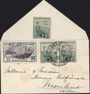 Orphelins De Guerre YT 163 X2 + 166 Tranchée CAD Clermont Ferrand 4 1 29 Dos 163 Non Oblit Enveloppe Format Carte Visite - Storia Postale