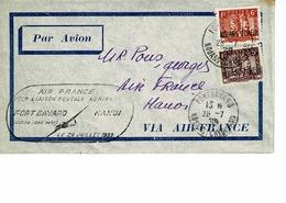 LETTRE 1 ERE LIAISON POSTALE AERIENNE FORT BAYARD HANOI 26 JUILLET 1939. SURCHARGE KOUANG TCHEOU - Covers & Documents