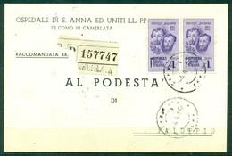 Z865 ITALIA RSI 1945 Cartolina Commerciale Raccomandata Affrancata Con F.lli Bandiera 1 L. Coppia, Da Camerlata (CO) - 4. 1944-45 Repubblica Sociale
